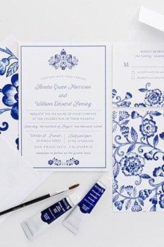 wedding invitation with china blue theme