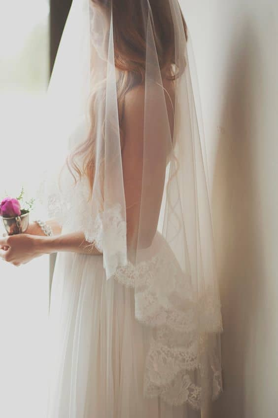 bride with tulle veil