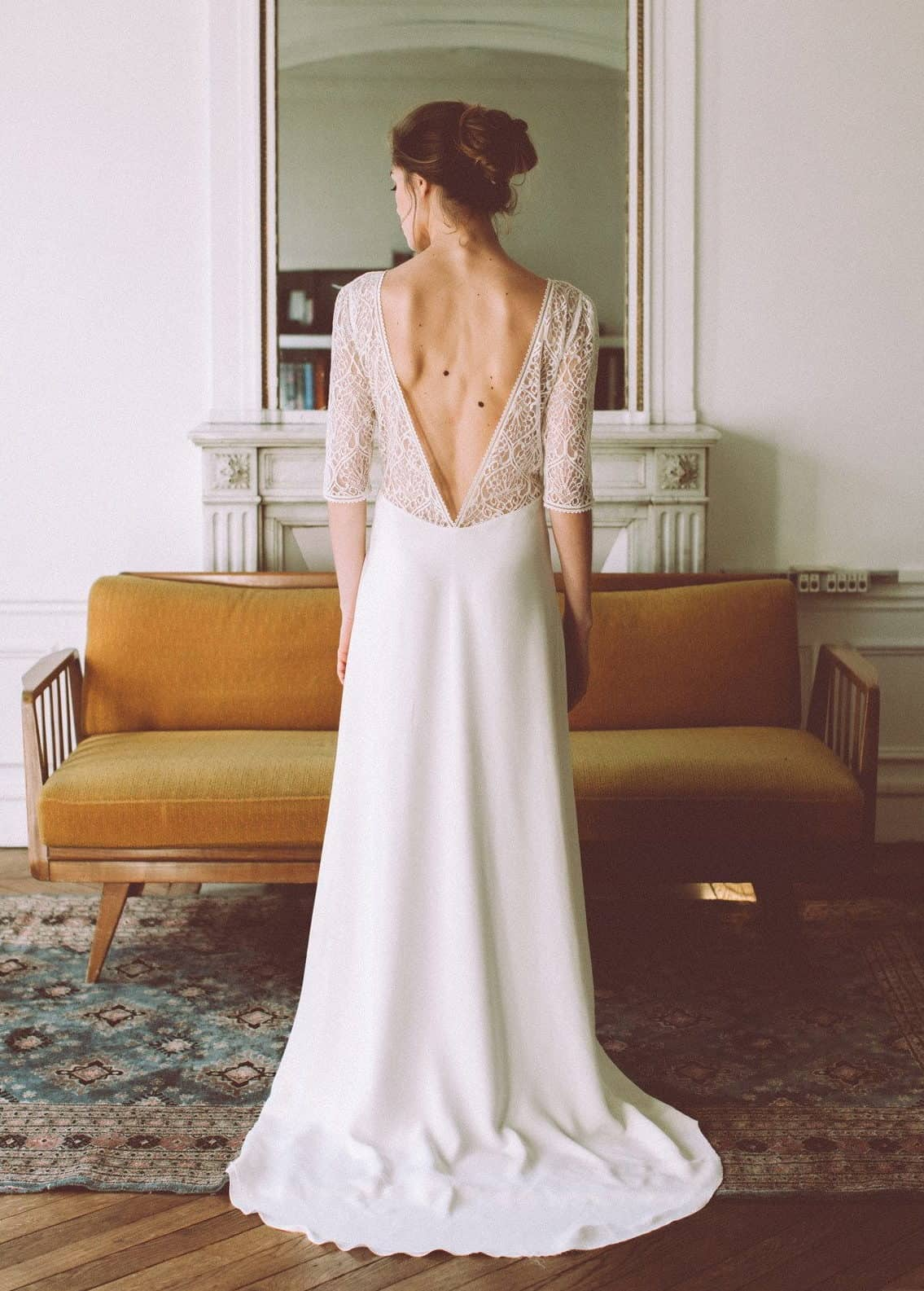 bride with a bareback wedding dress