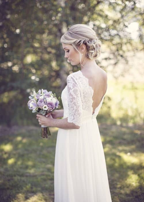 bride with back side lace details