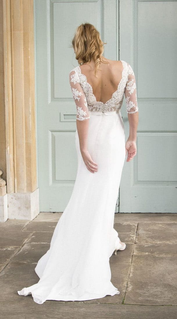 wedding dress with laced backside