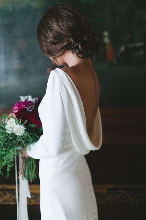 bride with a minimal wedding dress