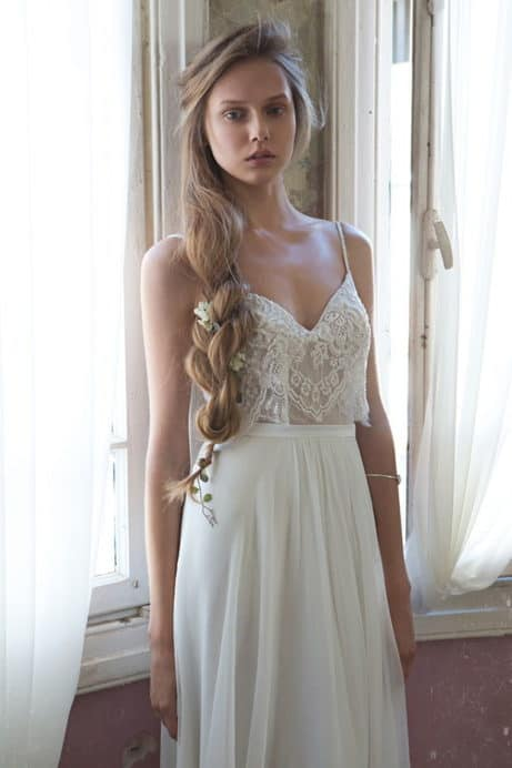 crop top lace wedding dress with a small tail