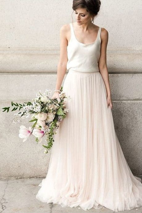 wedding dress with loose skirt in a-line shape
