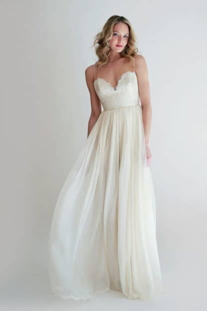 wedding dress with heart shaped bust
