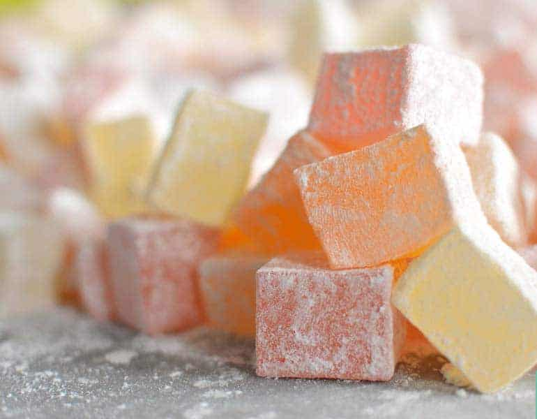 Turkish delight in different flavours, by Lucumium in Cyprus.
