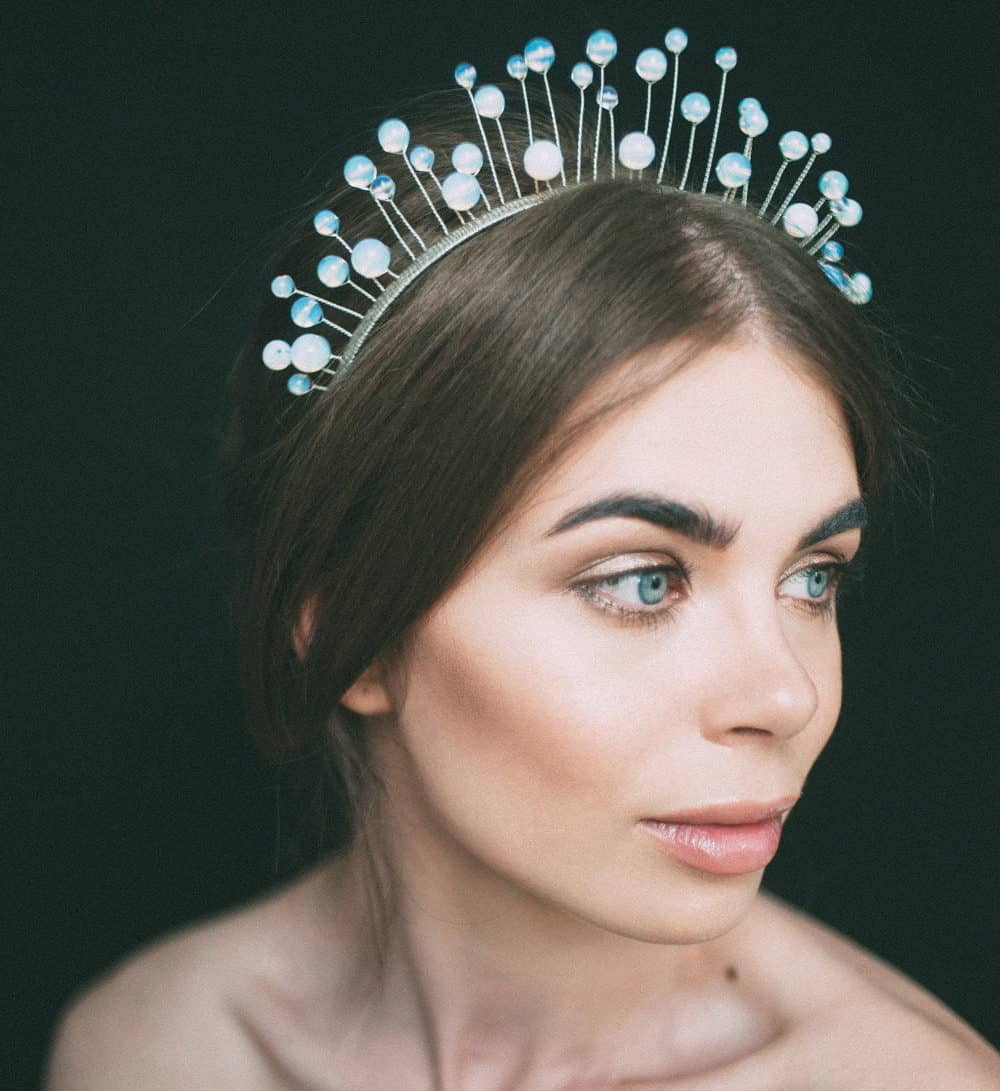 bride hair accessories with moonstone jewellery