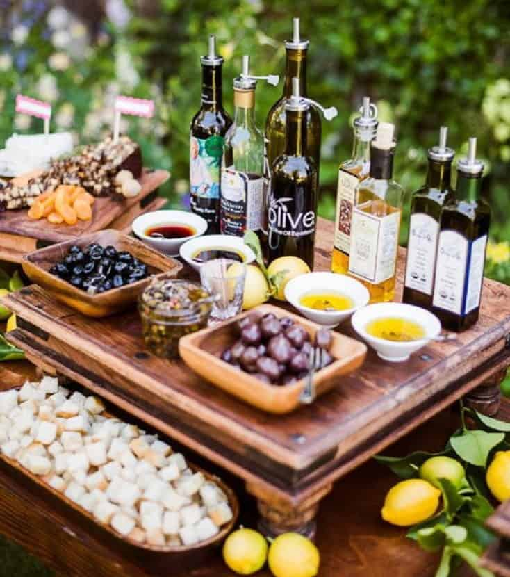 wedding catering station with olives