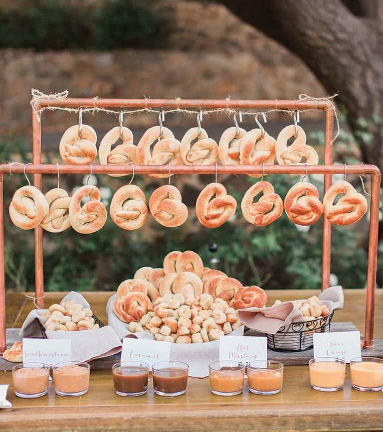 wedding catering station pretzel