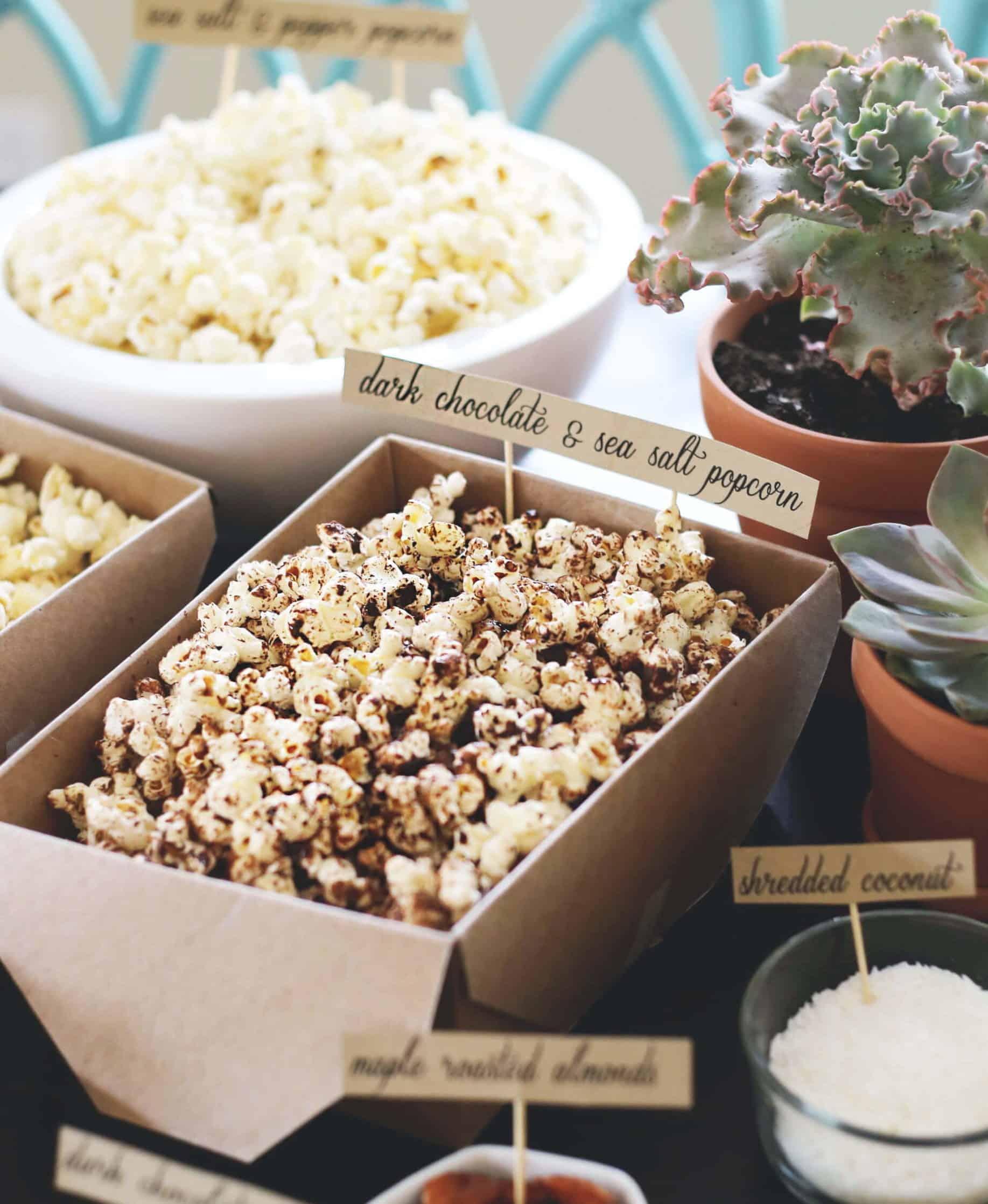 wedding catering station sweet popcorn