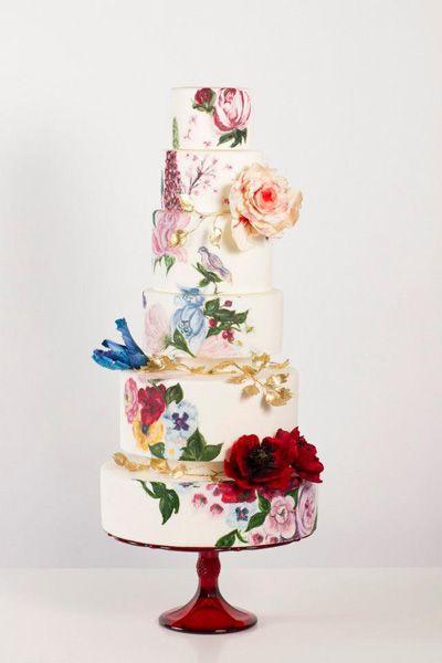 blooming painted wedding cake