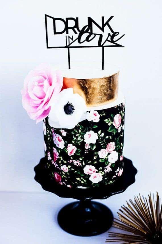 plastic black cake topper drunk in love