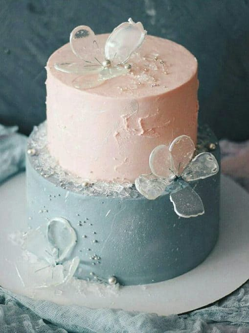 wedding cake pink and blue and crystal flowers