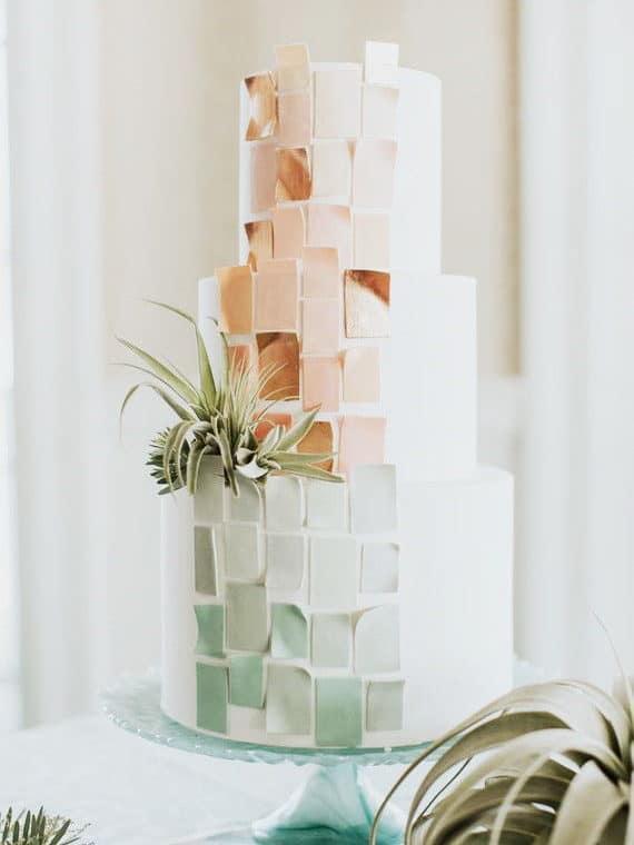 wedding cake with mosaic design