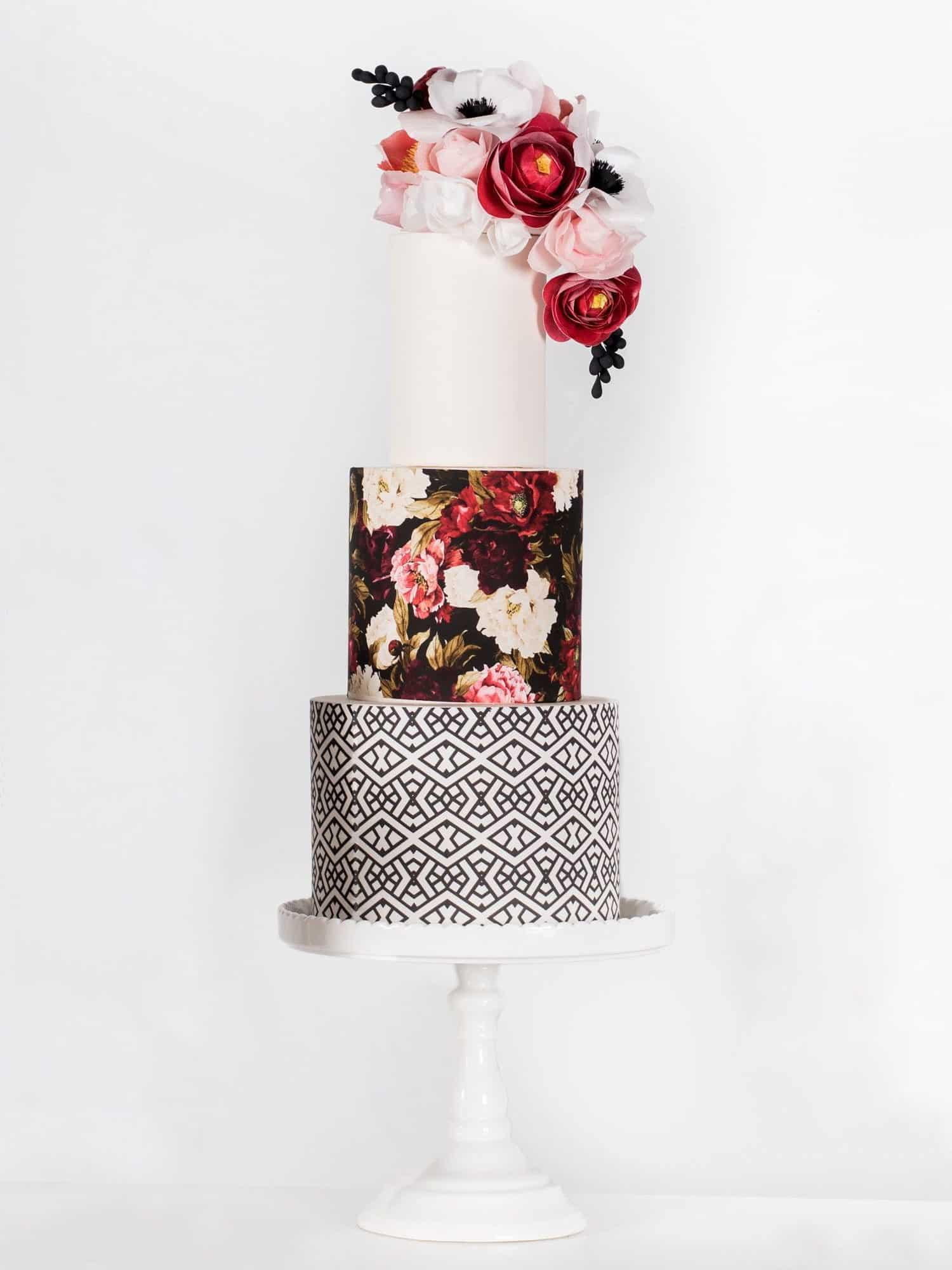 floral printed wedding cake