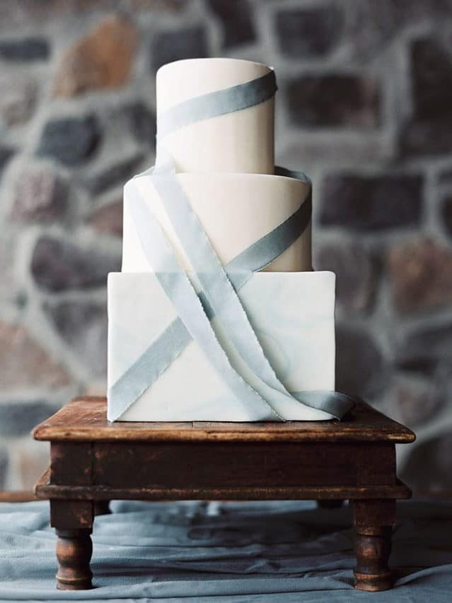 simple wedding cake with ribbon