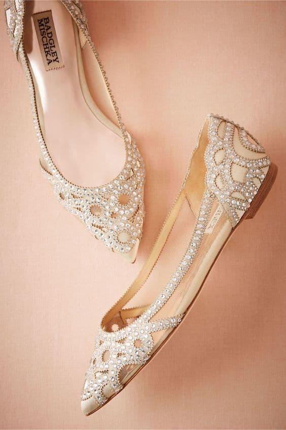flat bridal wedding shoes