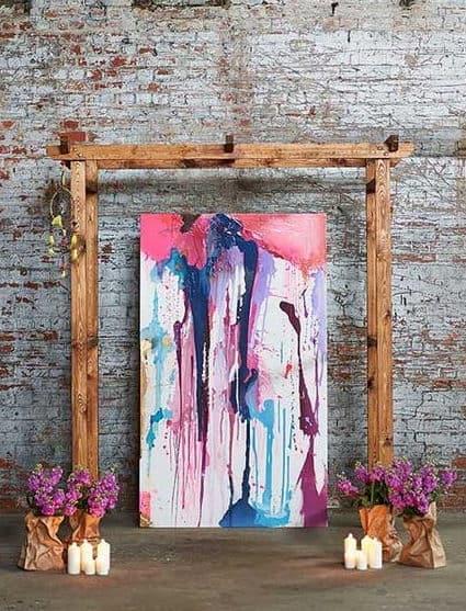 γαμήλιο φόντο από πινελίες σας πίνακας ζωγραφικής σε ξύλινο πλαίσιο