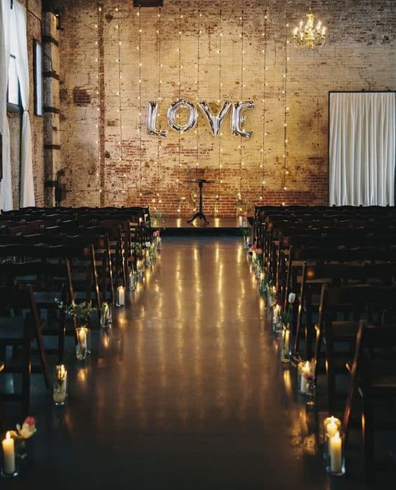 backdrop wedding decoration with balloon and fairylights
