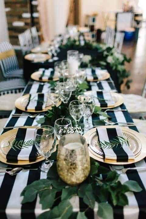wedding table cloth with black and white stipes