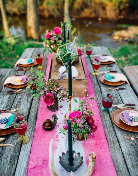 wedding table with boho style decoration