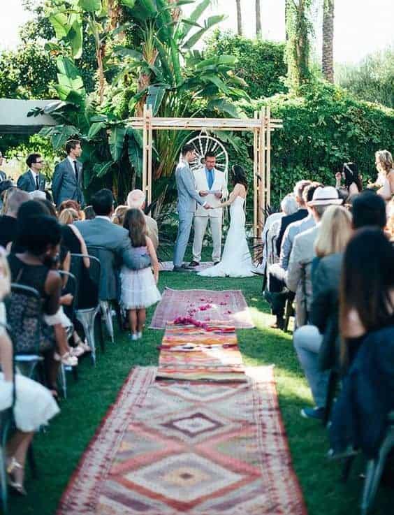 wedding ceremony with boho style decoration