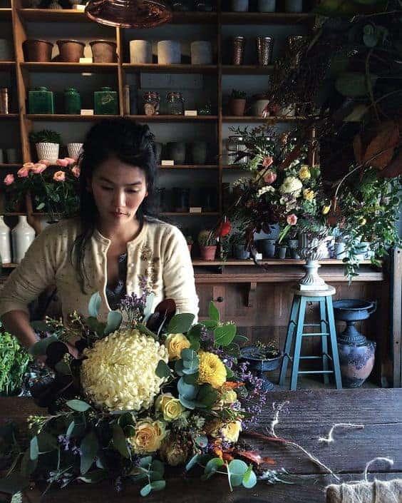 florist prepared a wedding bouquet