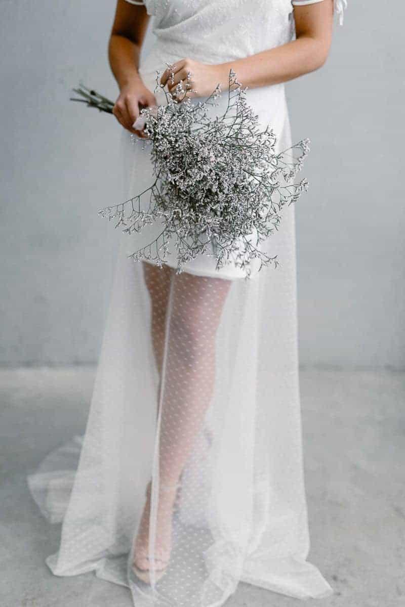 wedding bouquet with concrete colour theme