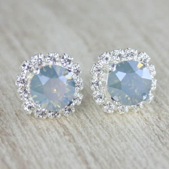 dusty blue bridal earrings
