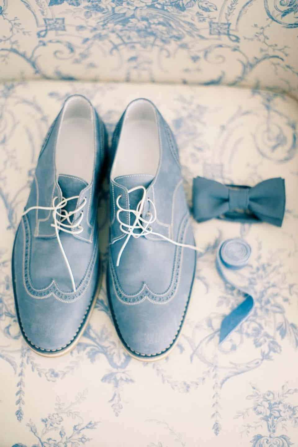 groom shoes in dusty blue colour