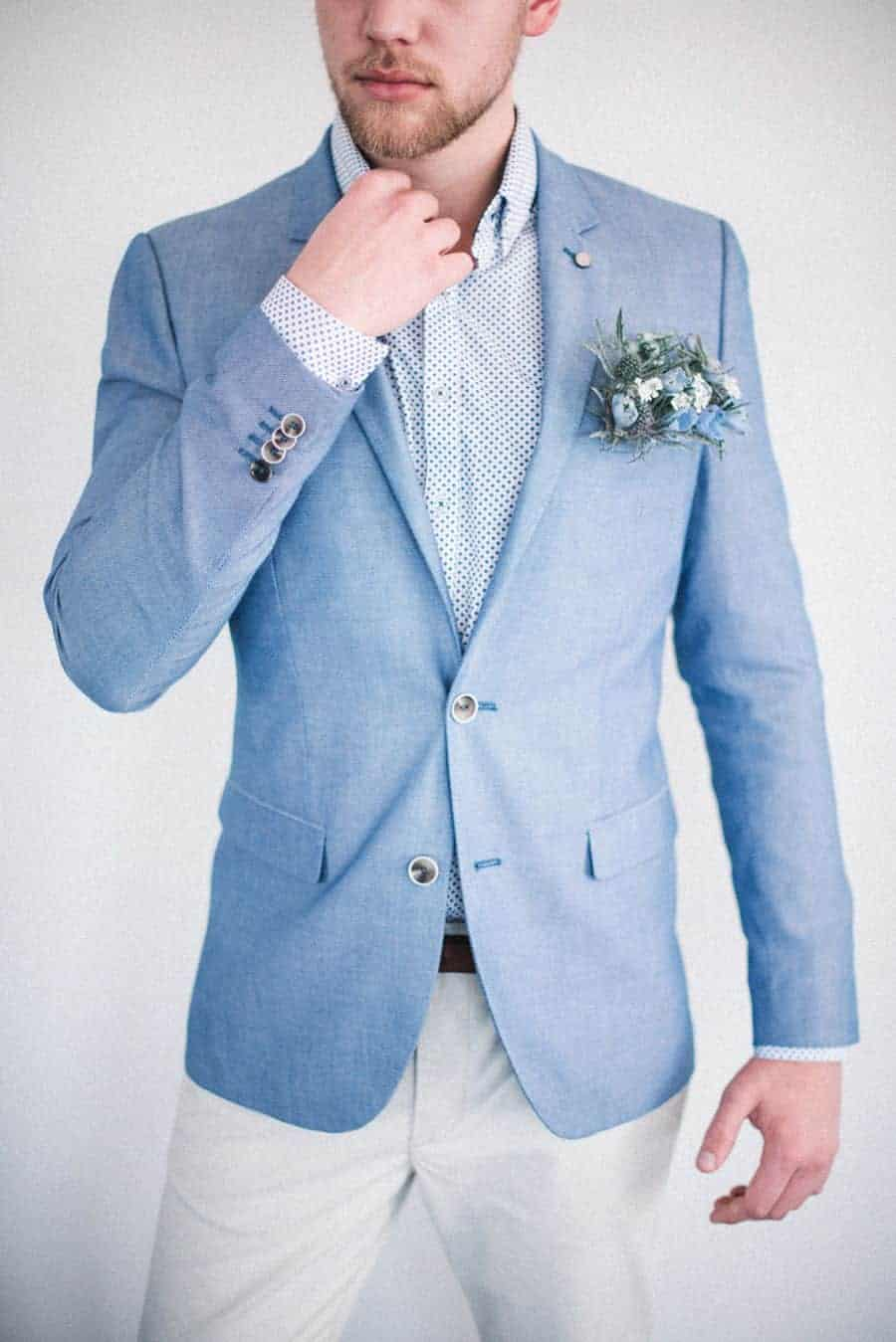 groom suit in dusty blue colour
