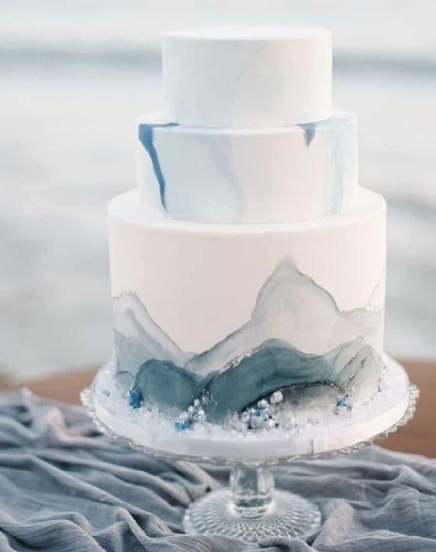 wedding cake white with dusty blue shades