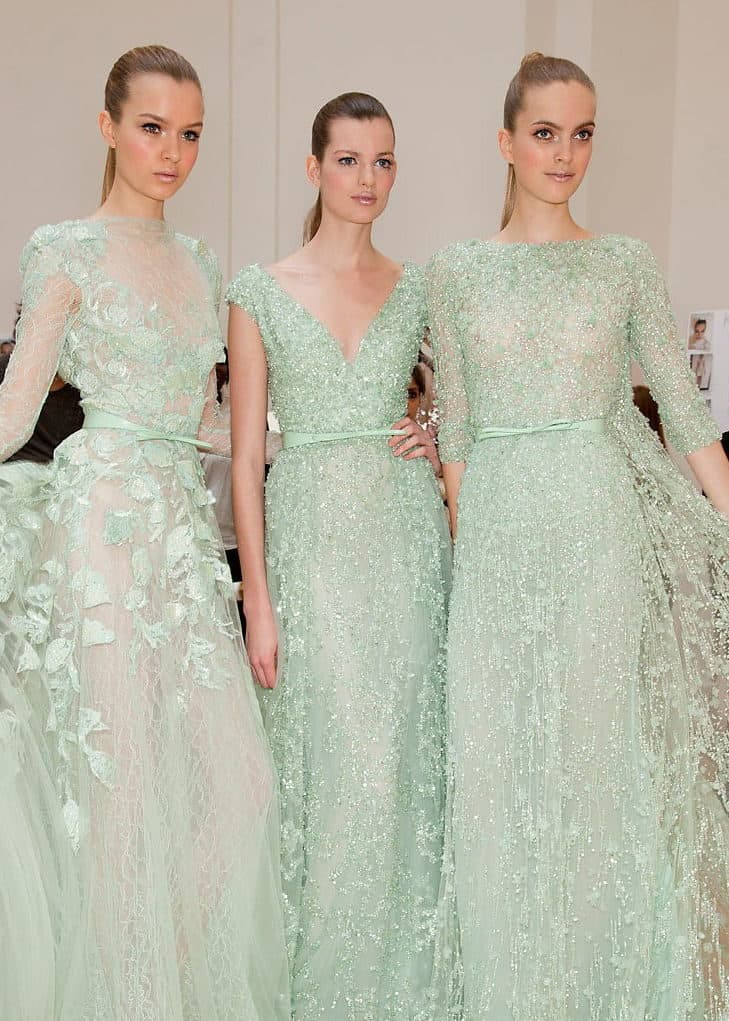 bridesmaids in dusty green dresses