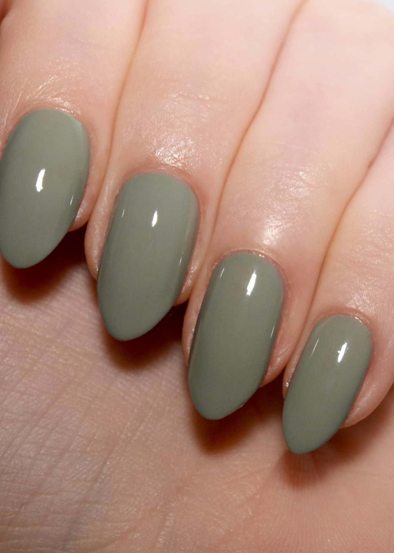 bridal nails in dusty green colour