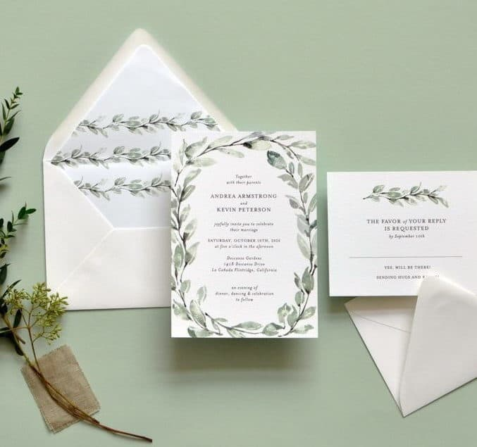 wedding invitation in dusty green colours