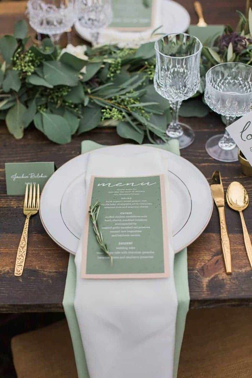 wedding table decoration in dusty green colours