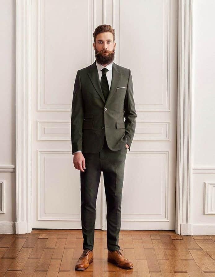 groom suit in dark green colour