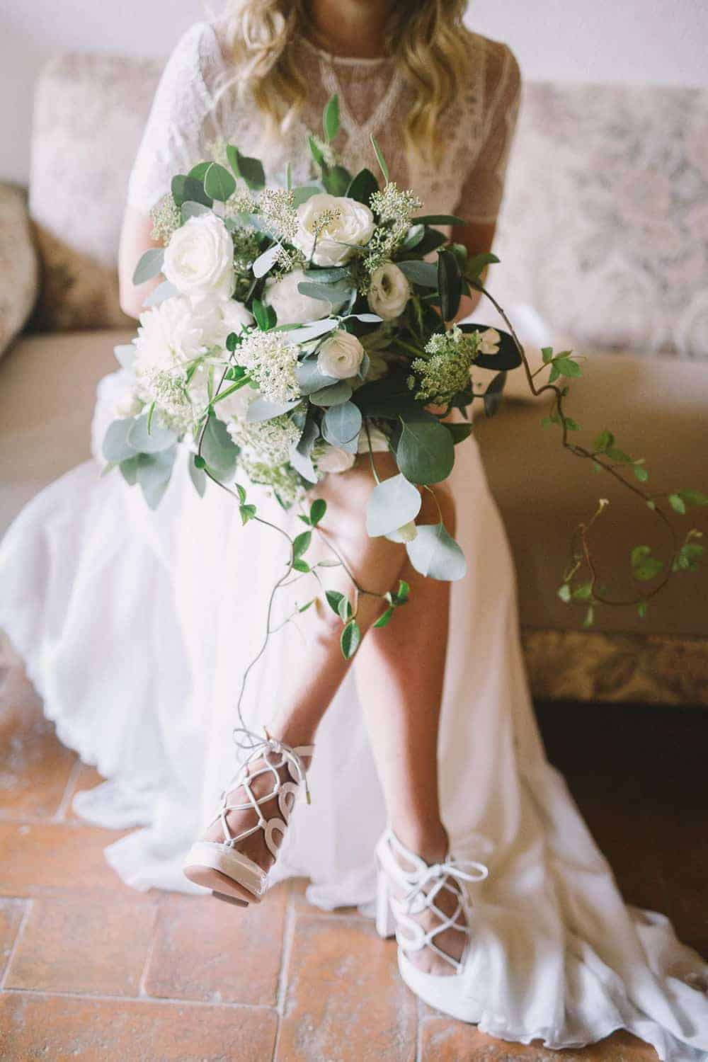 wedding bridal bouquet with with flowers and greenery