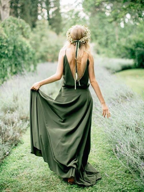 bridesmaid with olive dress