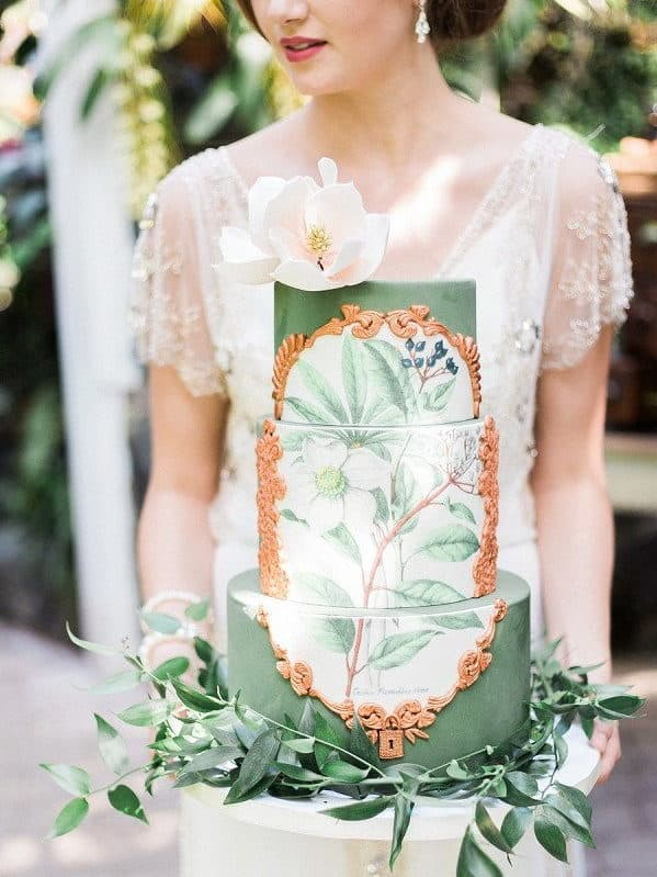 wedding cake with greenery details