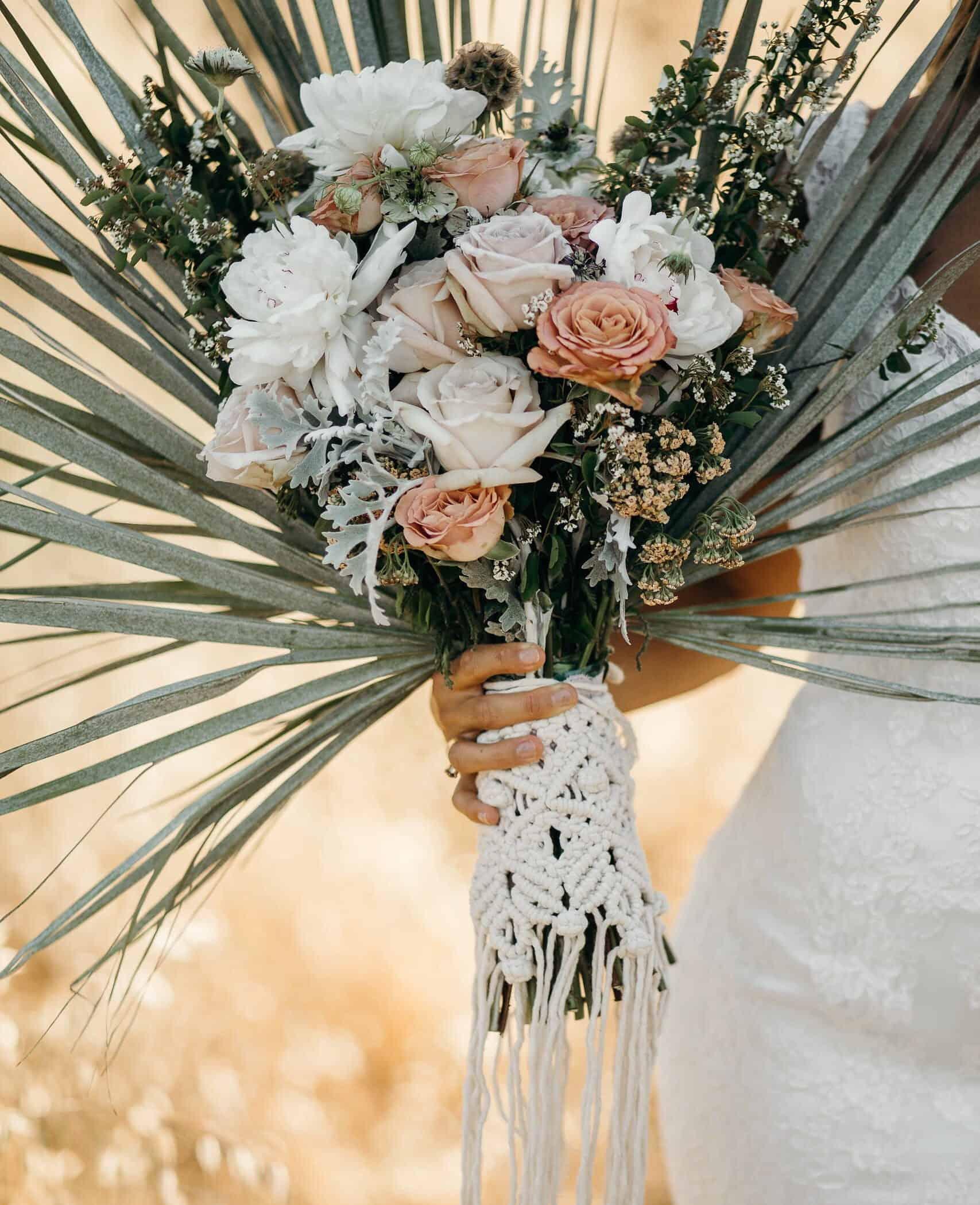 wedding bridal bouquet with crochet