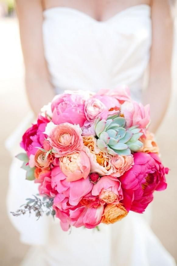 summer wedding bouquet with pink peonies