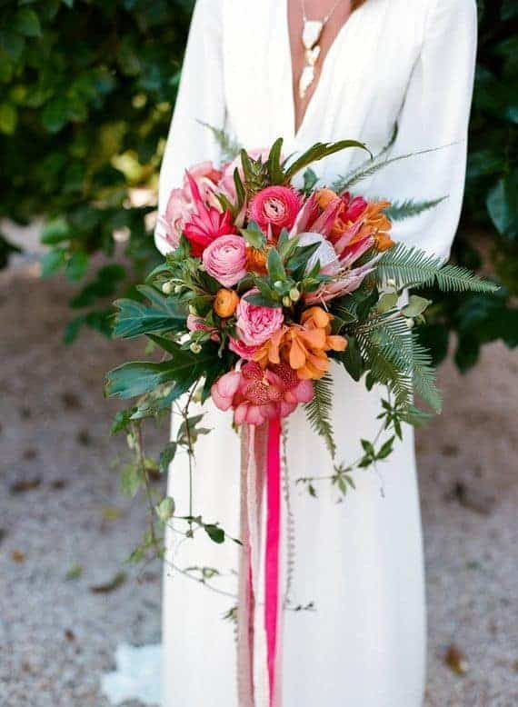 bridal bouquet with tropical flowers