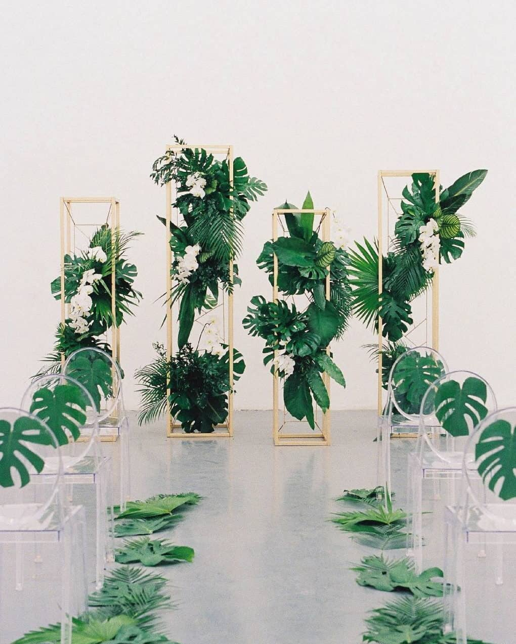 wedding decoration with tropical backdrop