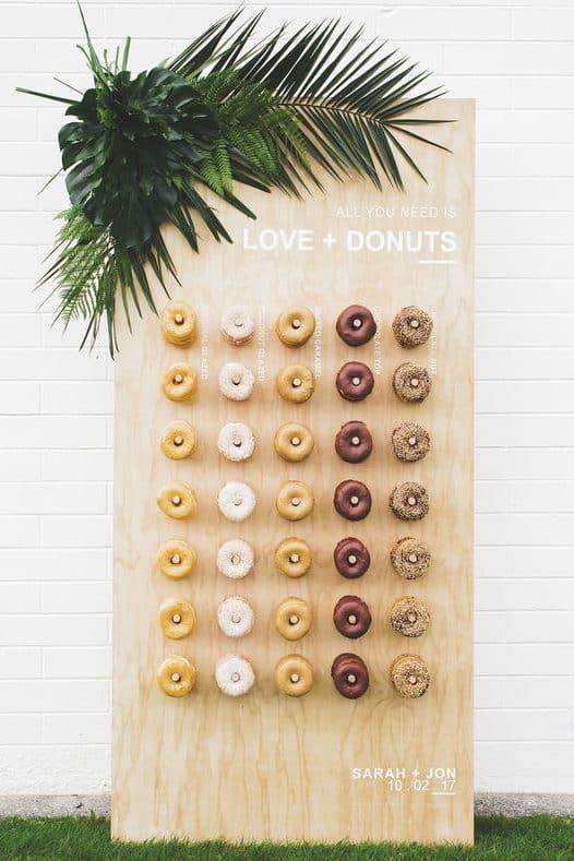 wedding reception donut board