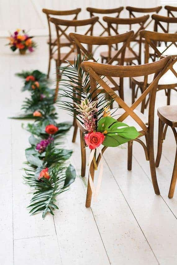 wedding ceremony with tropical decoration