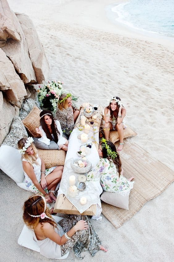 wedding bachelorette party at the beach