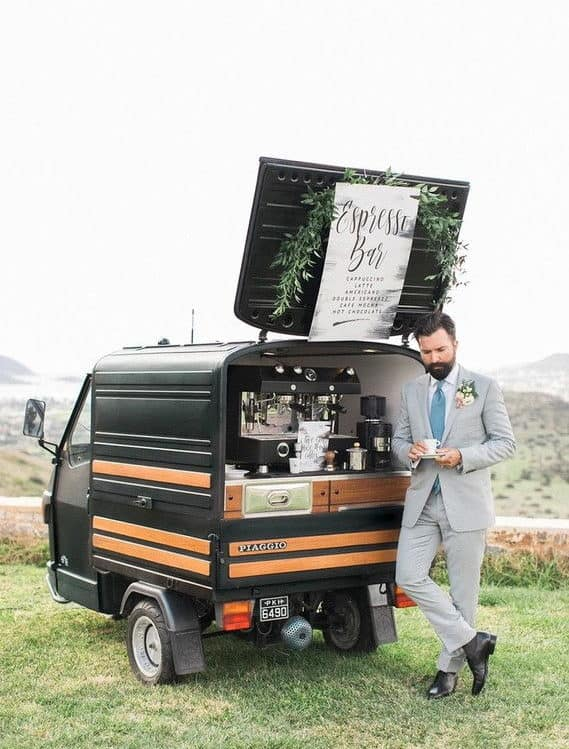 groom at the espresso bar drinking coffee