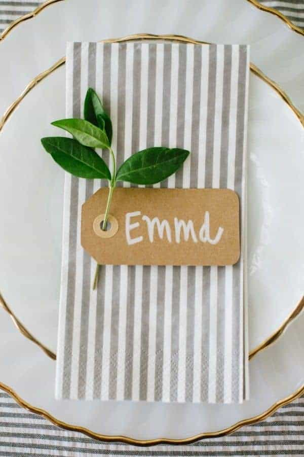 wedding dinner plate decoration a napkin grey with stripes an t