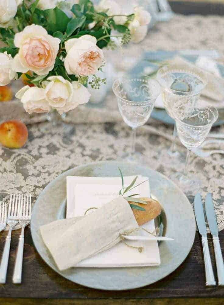 wedding dinner plate decoration with a